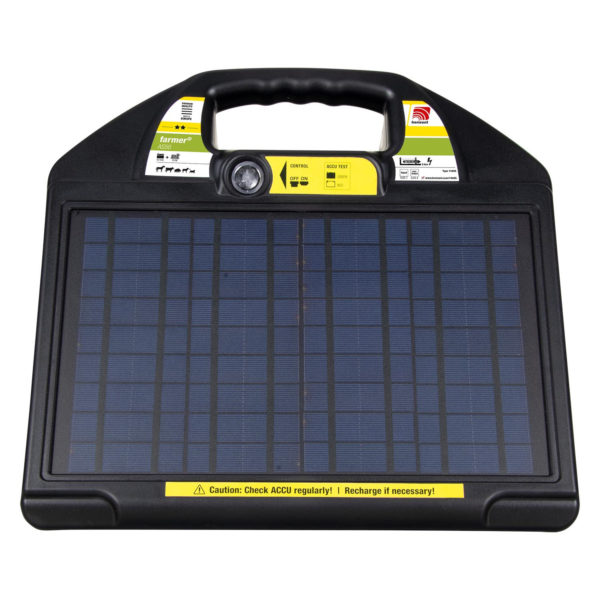 Na sliki je električni pastir Horizont Farmer AS50 Solar, solarna naprava