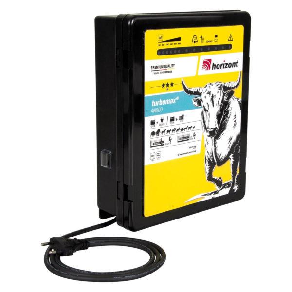 Električni pastir Horizont Turbomax AN800 Dual z bočne strani. Ima kabel za priklop na električno omrežje.