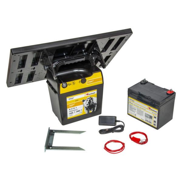 Celoten komplet Električni pastir Horizont Ranger AS120 s solarnim panelom, baterijo, kablom za električno omrežje, priključnim kablom za trak in žico in nogice za postavitev